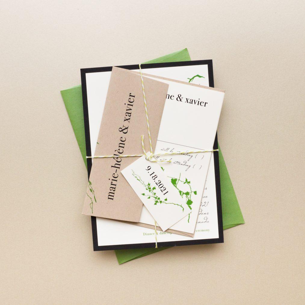 Modern Greenery Bundled Wedding Invitation