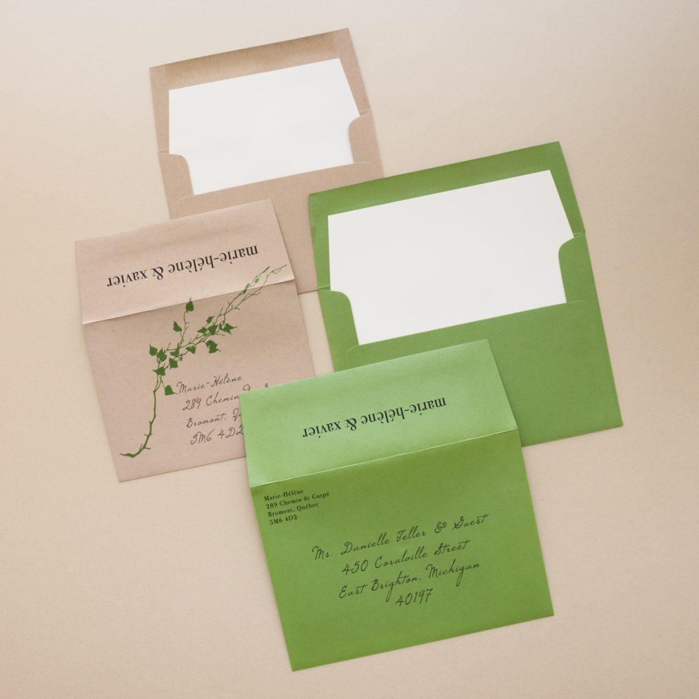 Modern Greenery Wedding Invitation Envelopes