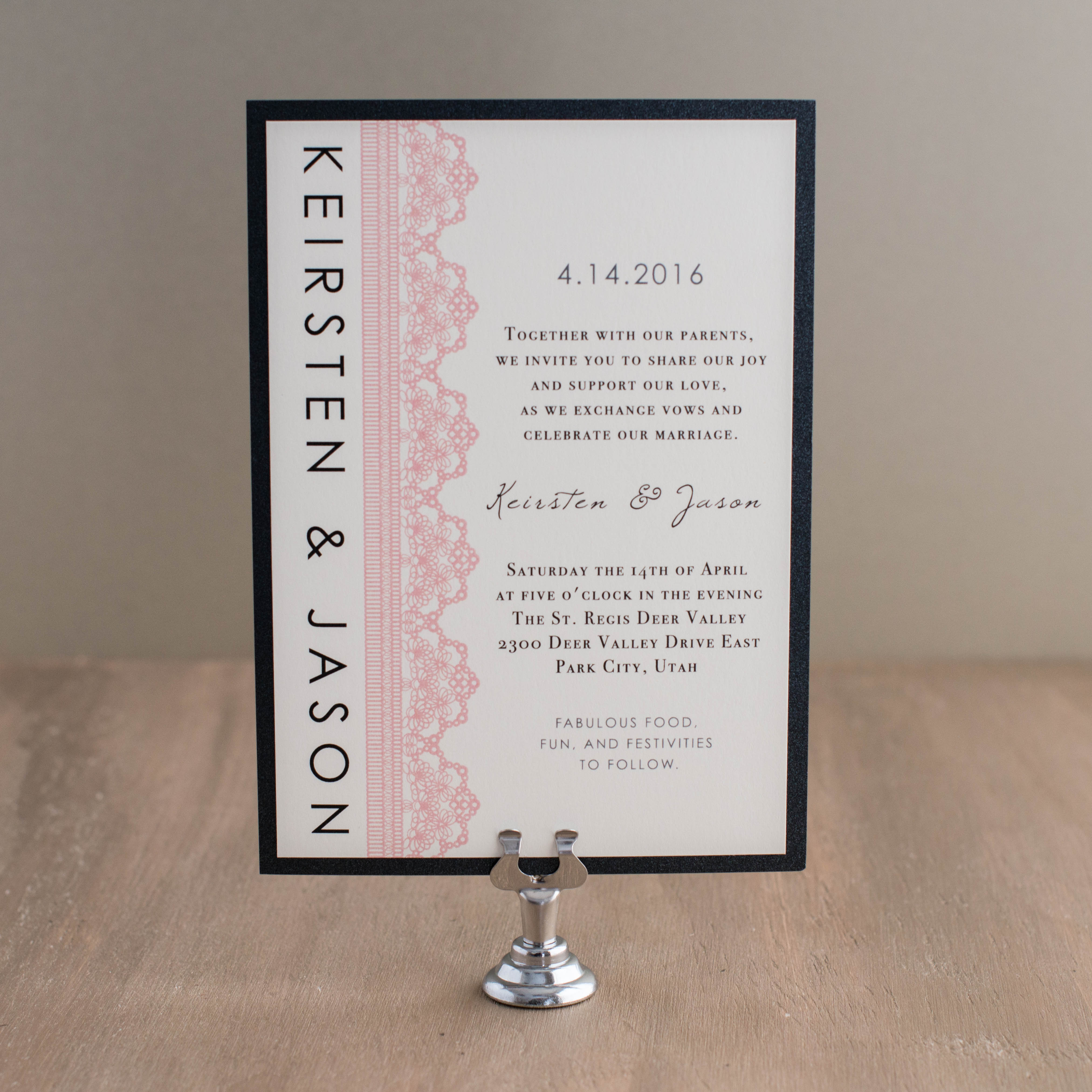Modern Lace Wedding Invitations