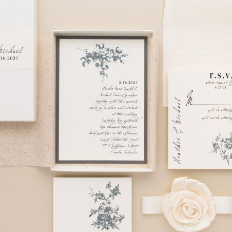 Unique Gray Floral Boxed Wedding Invitations