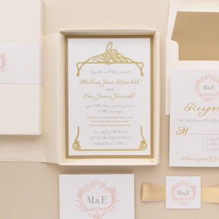 Unique Antique Gold Boxed Wedding Invitations