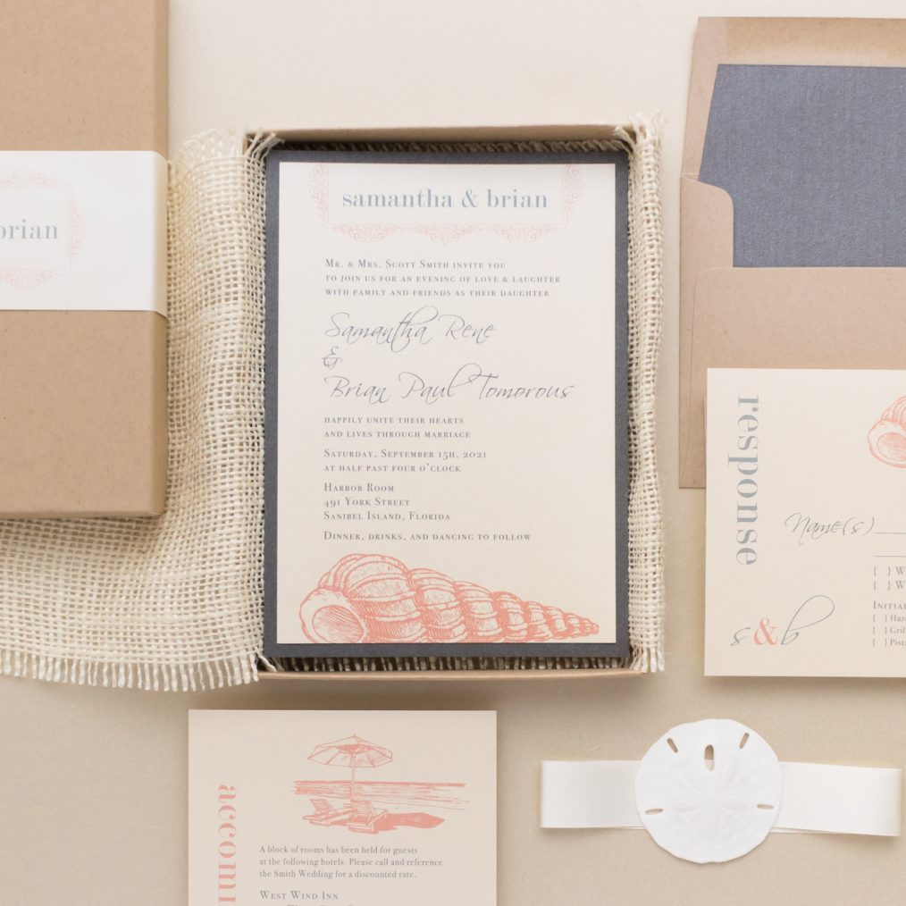 Unique Blush Seashell Boxed Beach Wedding Invitations