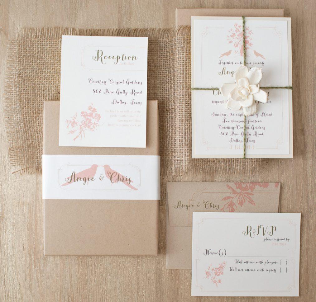 Peach Love Birds Rustic Burlap Wedding Invitations
