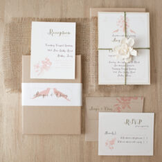 Peach Love Birds Rustic Burlap Wedding Invitations