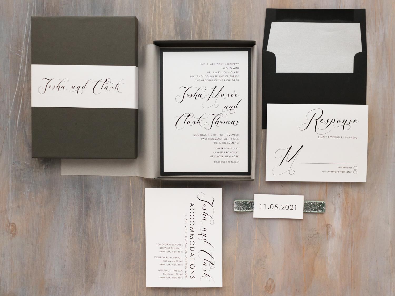 Black Calligraphy Wedding Invitations   Black Script   Beacon Lane