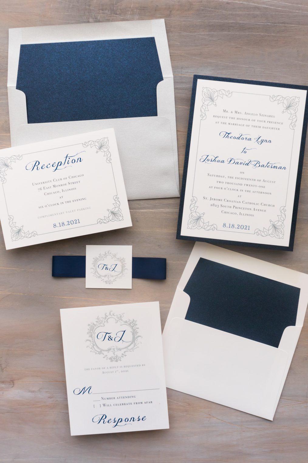 classic navy wedding invitations
