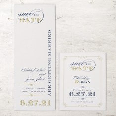 Elegant Navy Script Save The Date