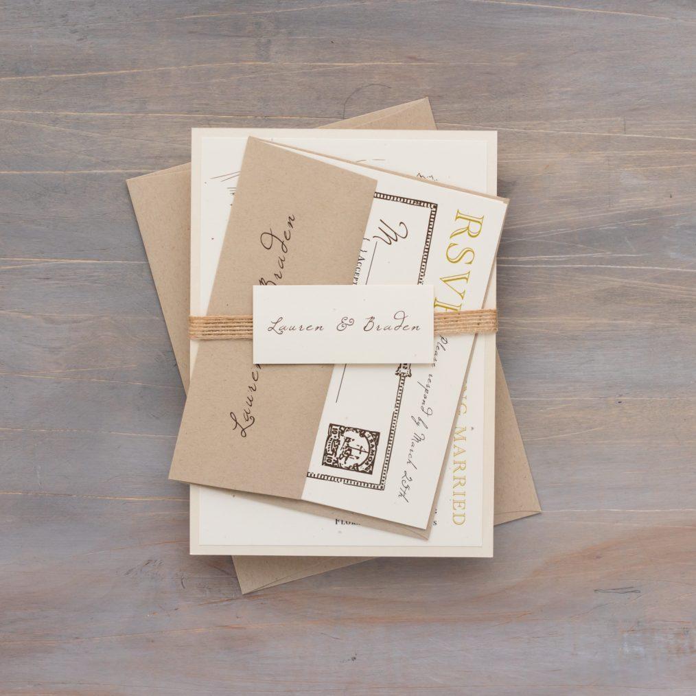 Rustic bundled wedding invitations