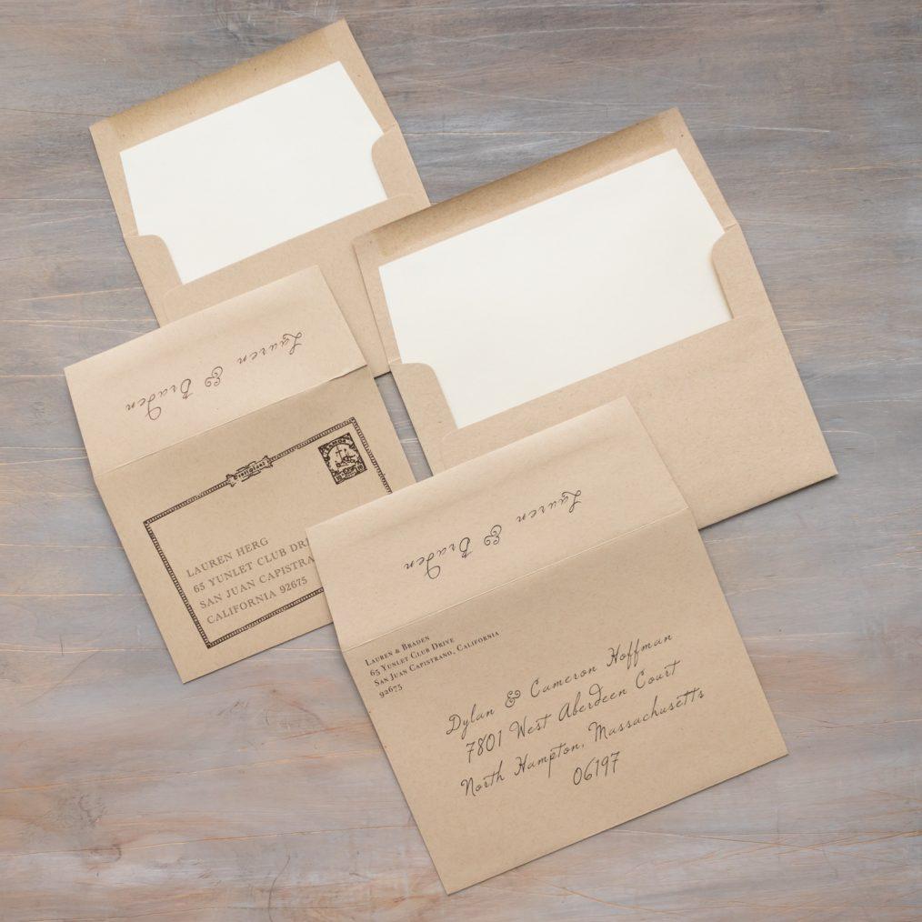 Rustic Farm Taupe Wedding Invitation Envelopes