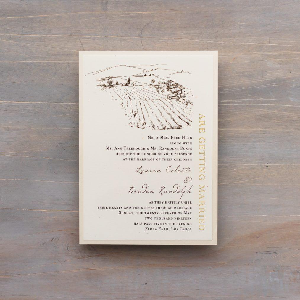 Main Card Wording Farm Chic Wedding Invitation