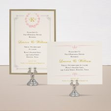 Gold and Blush Monogram Rehearsal Invitations