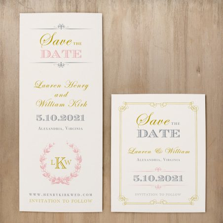 Gold and Blush Monogram Save the Dates