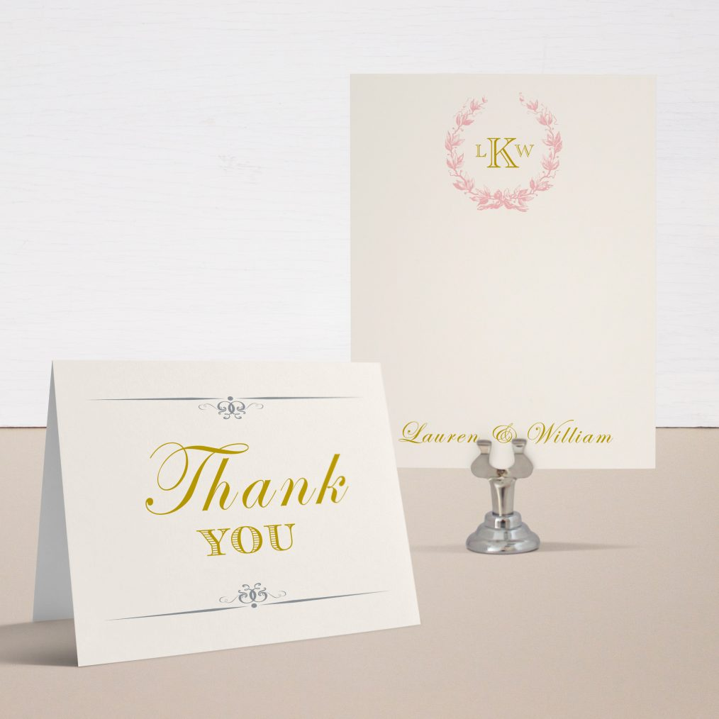 Gold and Blush Monogram Thank You Cards