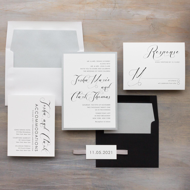 Black White Wedding Invitations Simple Modern Beacon Lane