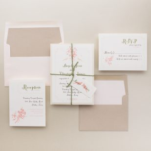 Peach Love Birds Wedding Invitations