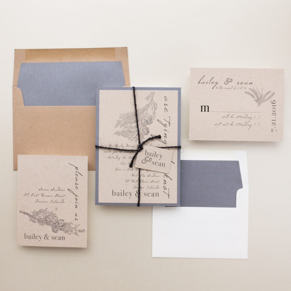 Rustic Taupe Wedding Invitations