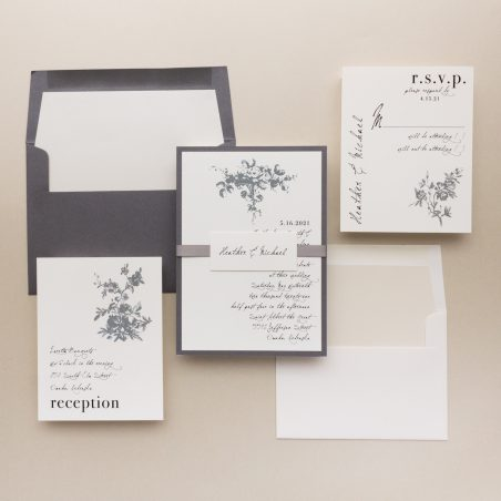 Gray Ivory Wedding Invitations