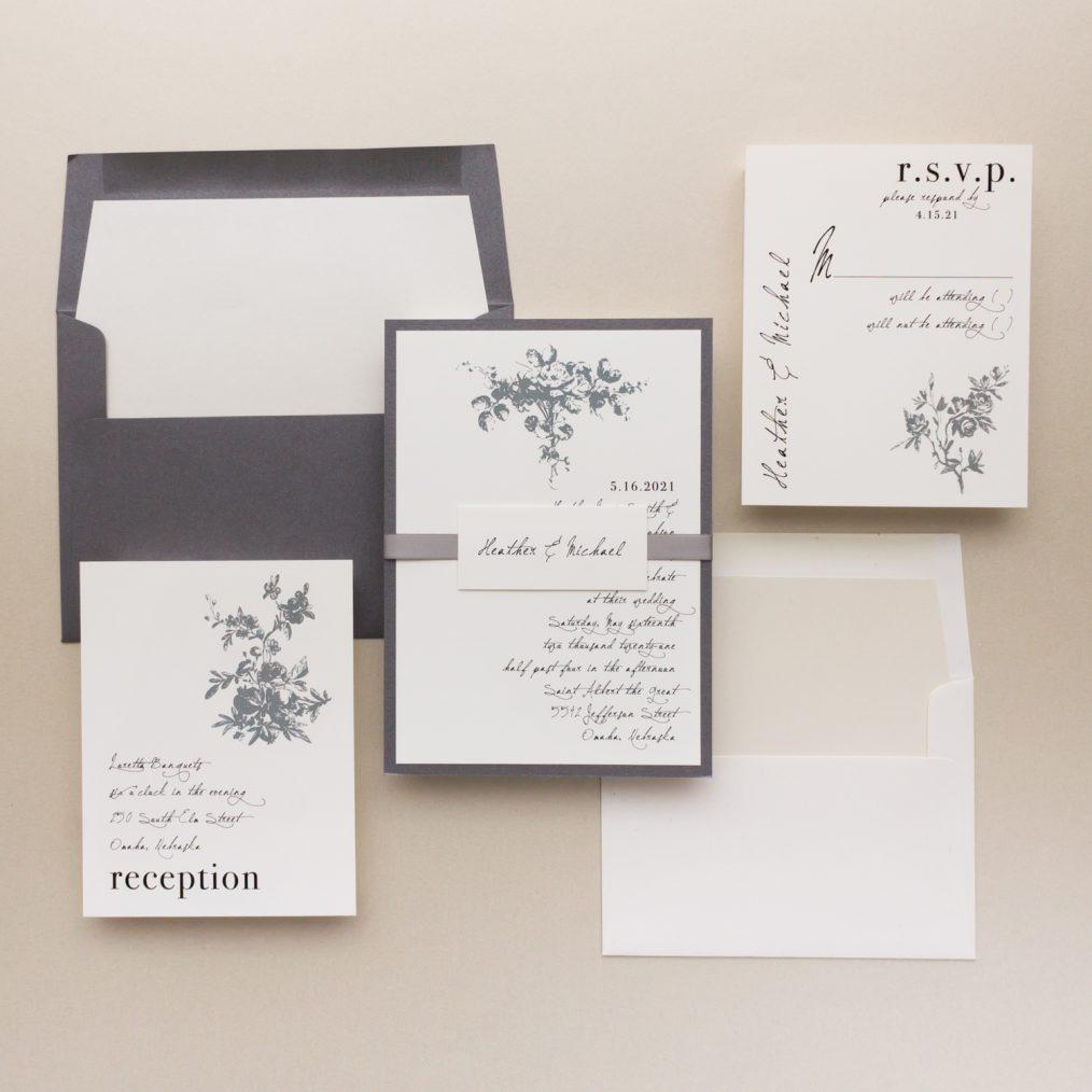 Gray Ivory Wedding Invitations