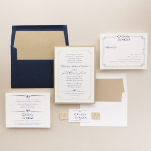 Elegant Navy Script Wedding Invitations