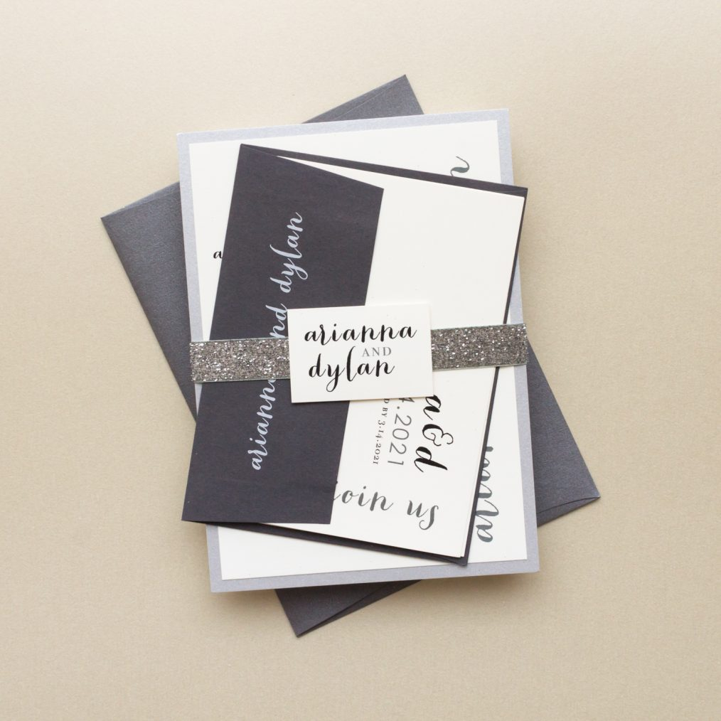 Bundled Silver Glitter Wedding Invitations