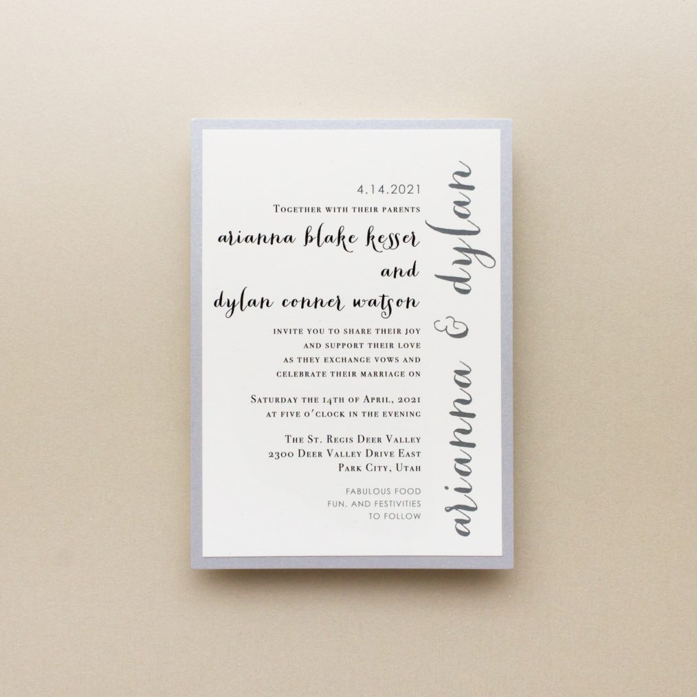 Silver Glitter Wedding Invitations Main Card Wording Detail