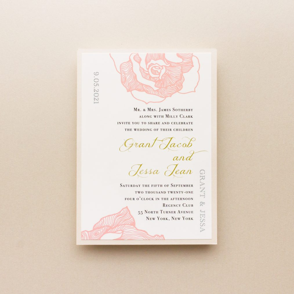 Gold Blush Lace Wedding Invitation Wording Detail
