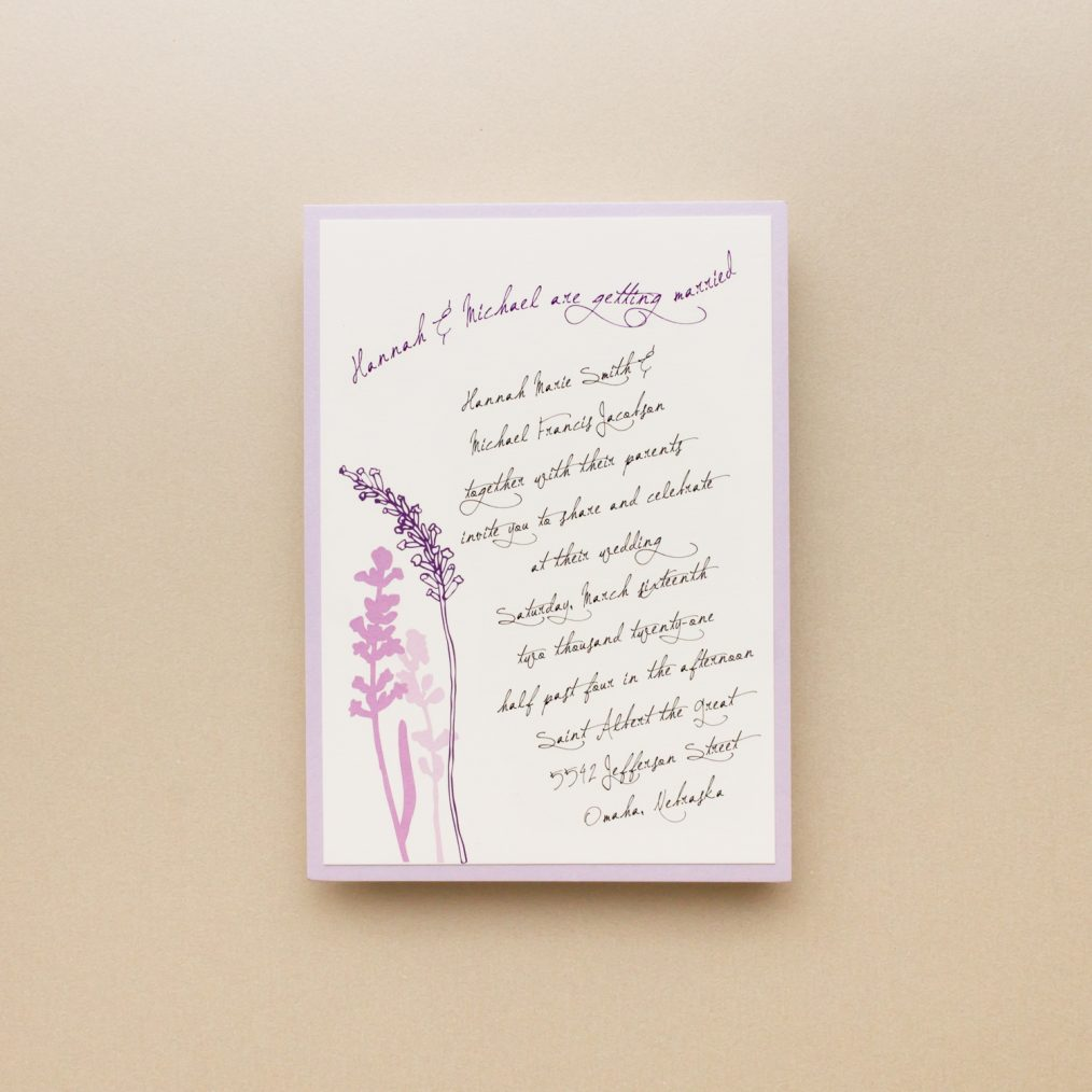 Lavender in Love Main Card Wording Detail
