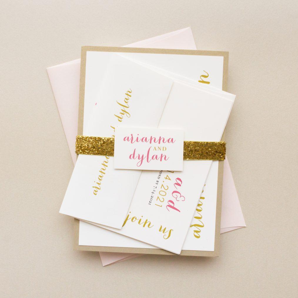 Gold Glitter Wedding Invitations