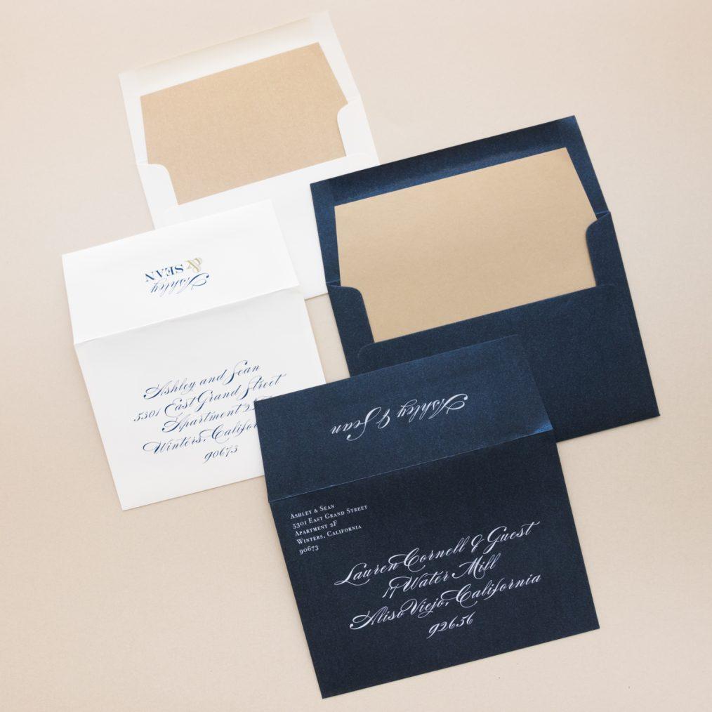 Gold & Navy Wedding Invitations