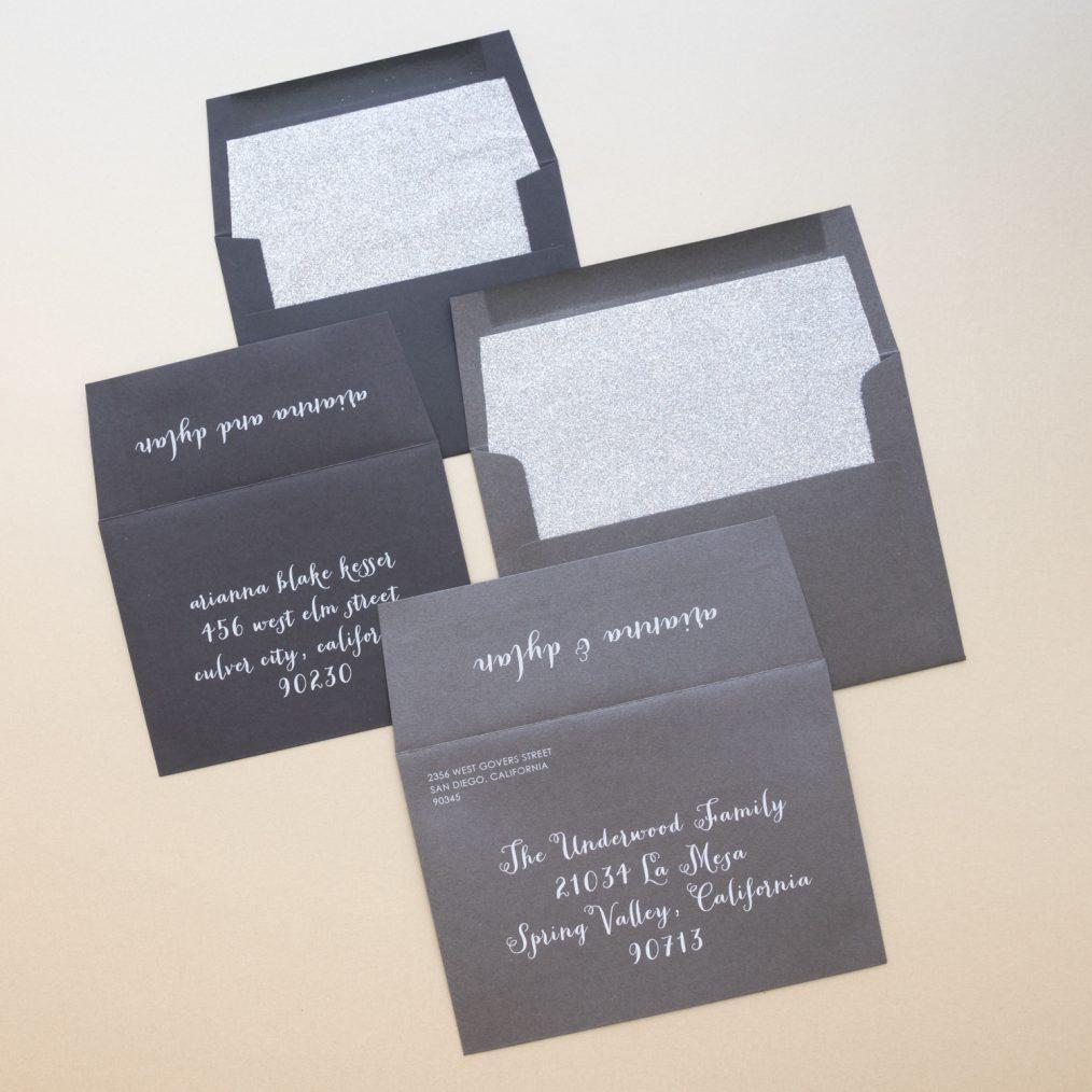 Silver Glitter Wedding Invitation Envelopes