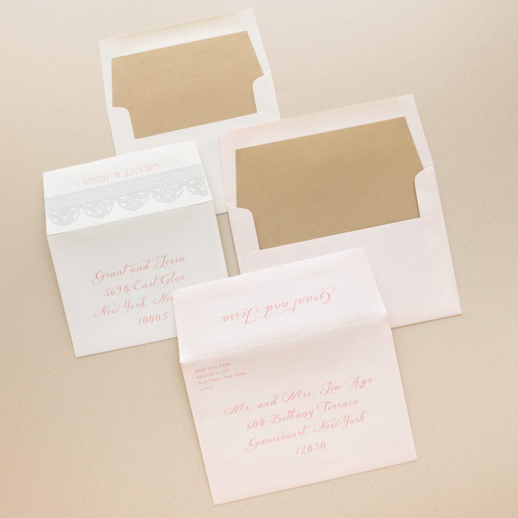 Gold Blush Lace Vintage Wedding Invitation Envelopes