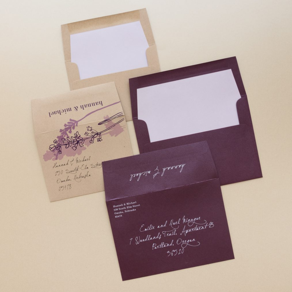 Plum and Taupe Lavender Wedding Envelopes
