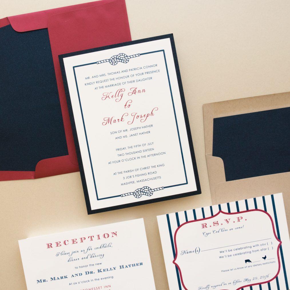 red white & blue wedding invitations