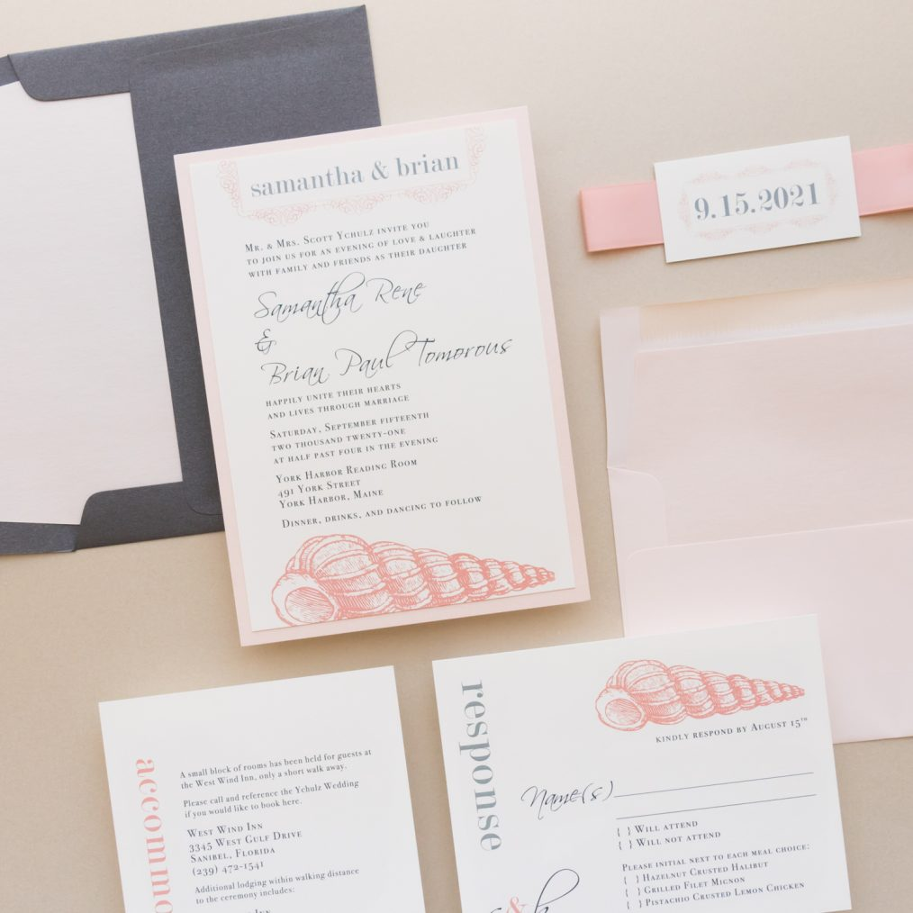 Blush Beach Wedding Invitations