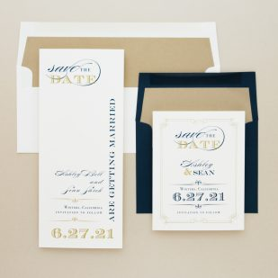 Elegant Navy Script Save the Dates