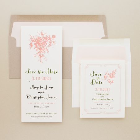 Peach Love Birds Save the Dates