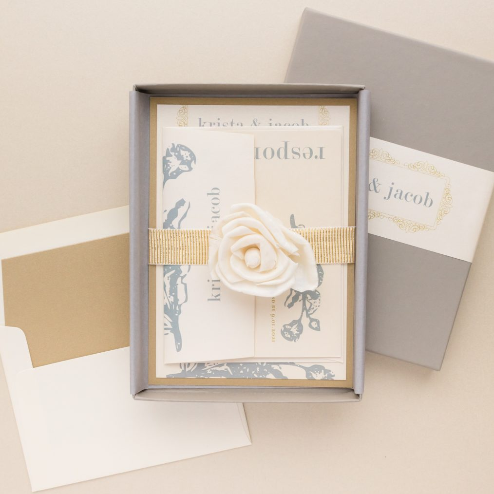Unique Gray & Gold Boxed Wedding Invitations