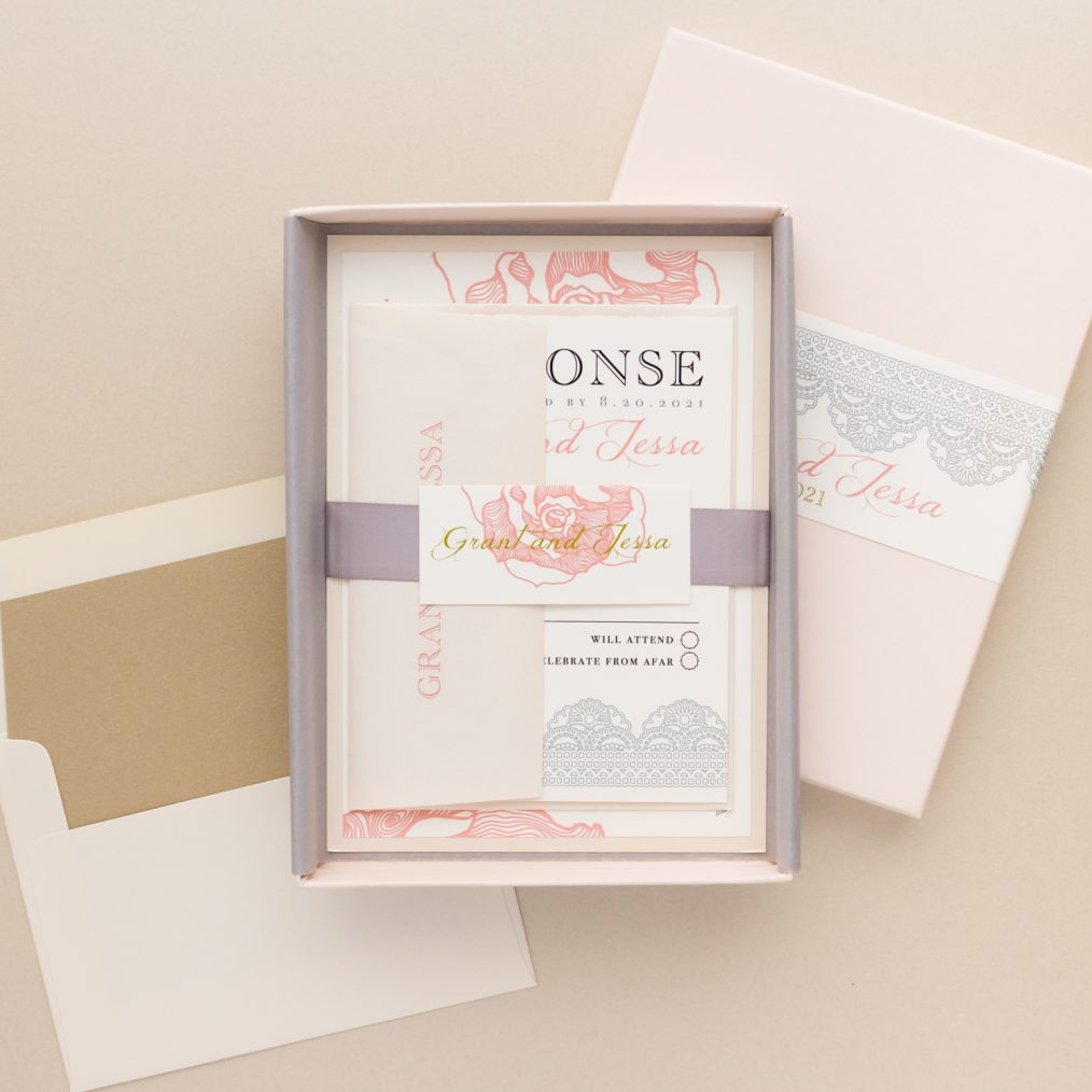 Unique Blush, Gray & Gold Floral Boxed Wedding Invitations