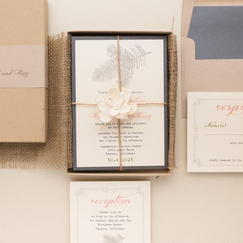 Unique Pine Tree Forest Boxed Wedding Invitations