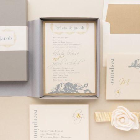 Unique Gray & Gold Boxed Wedding Invitations