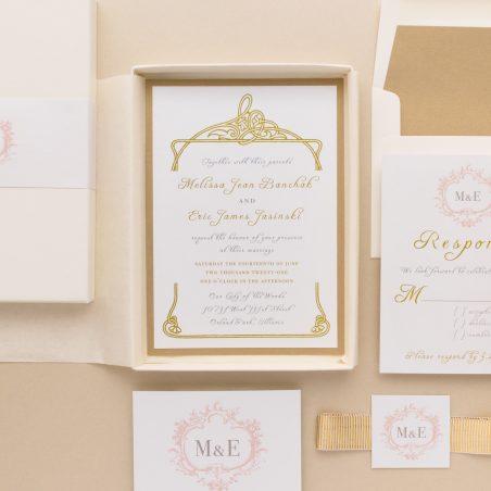 Antique Glitter Wedding Invitations
