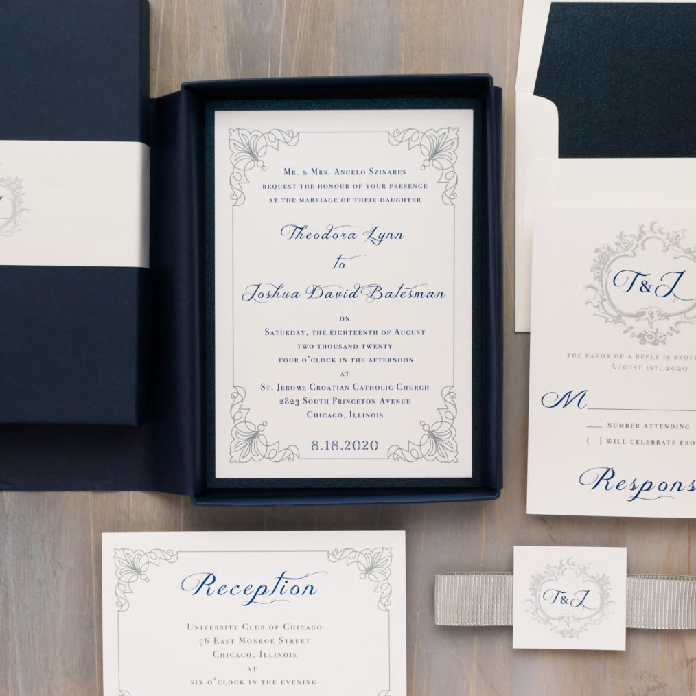 Navy & Silver Wedding Invitations