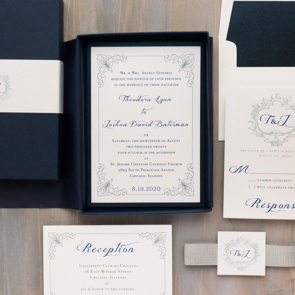 Navy & Silver Wedding Invitations