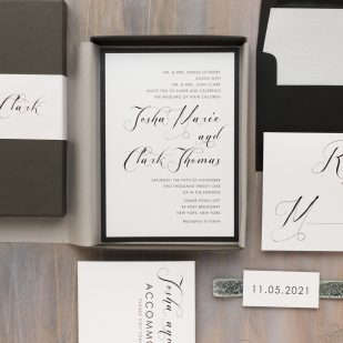Black Script Wedding Invitations