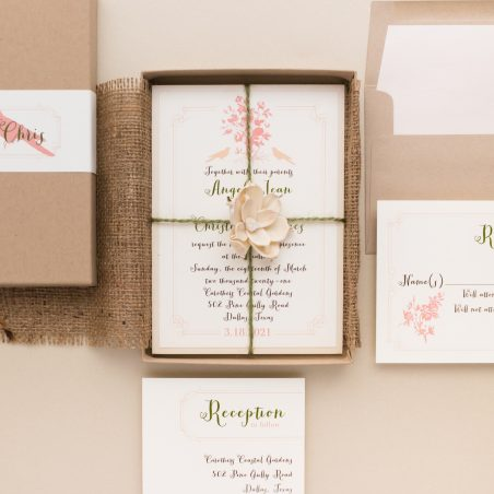 Unique Natural Garden Bird Boxed Wedding Invitations