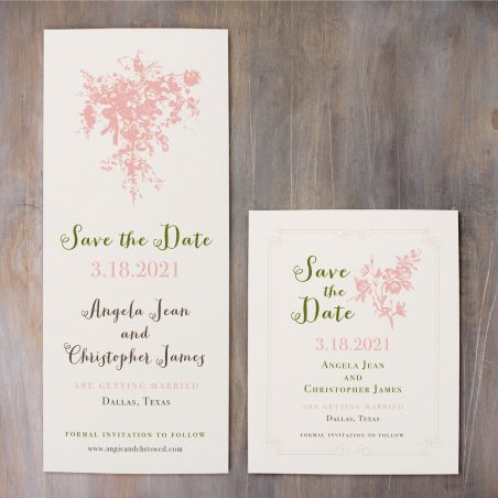 Peach Love Birds Lace Save the Dates