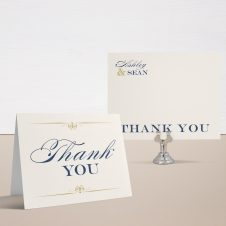 Elegant Navy Script Thank You Cards