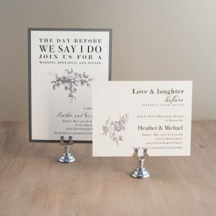 All White Rehearsal Invitations