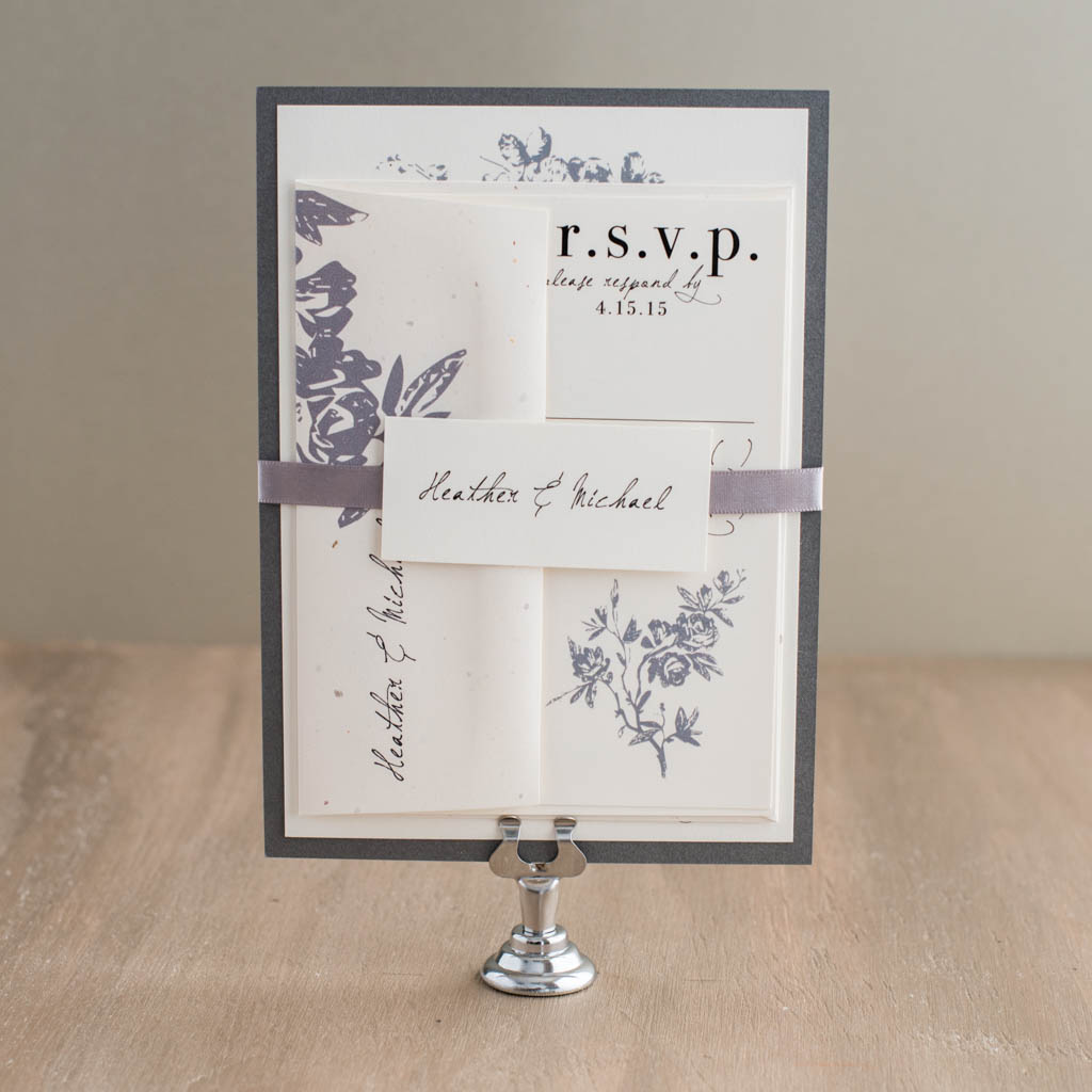 all white wedding invitations ivory and gray