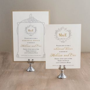 Antique Glitter Rehearsal Invitations